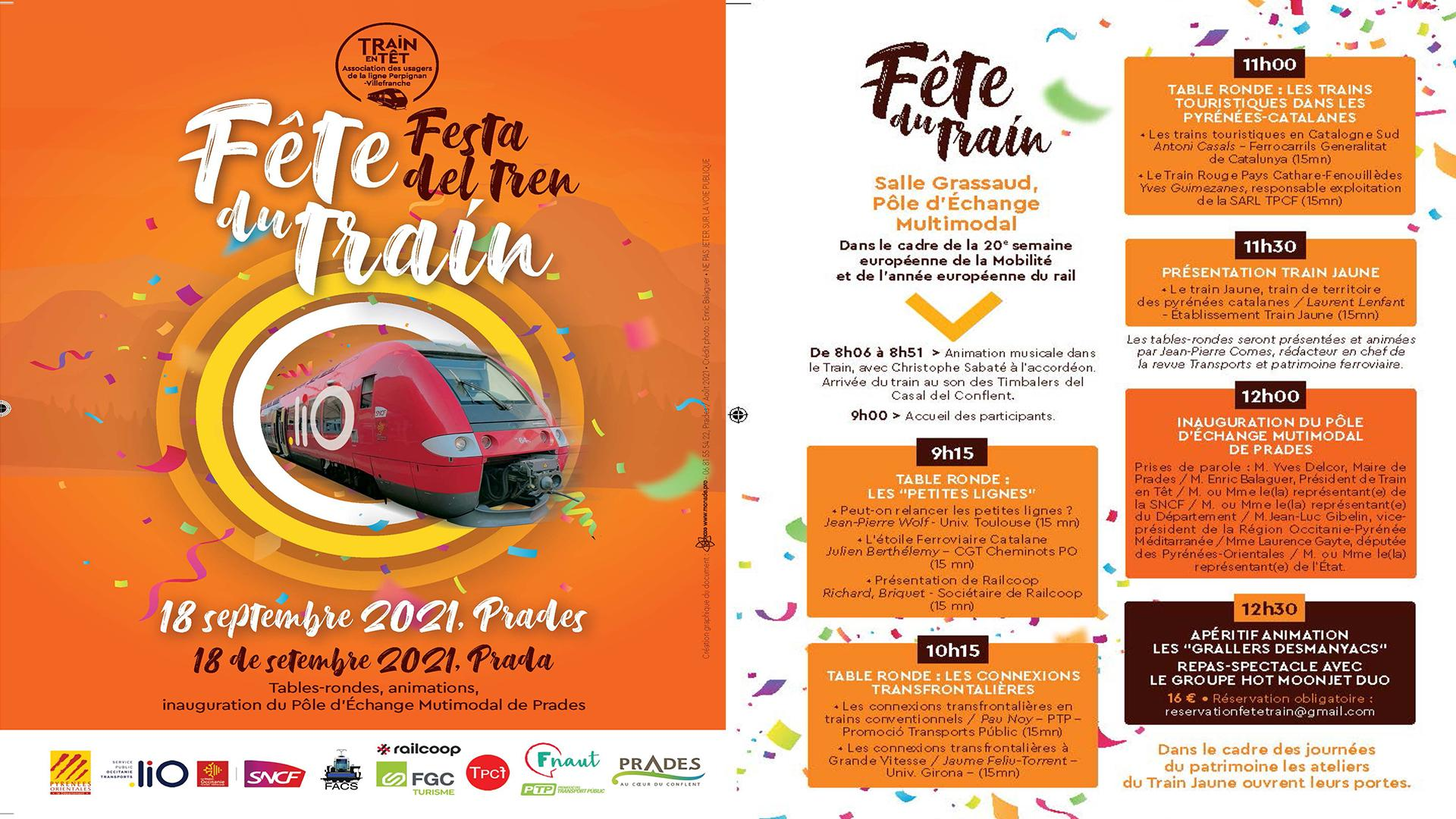 Affiche et programme fete du train prades samedi 18 septembre 2021