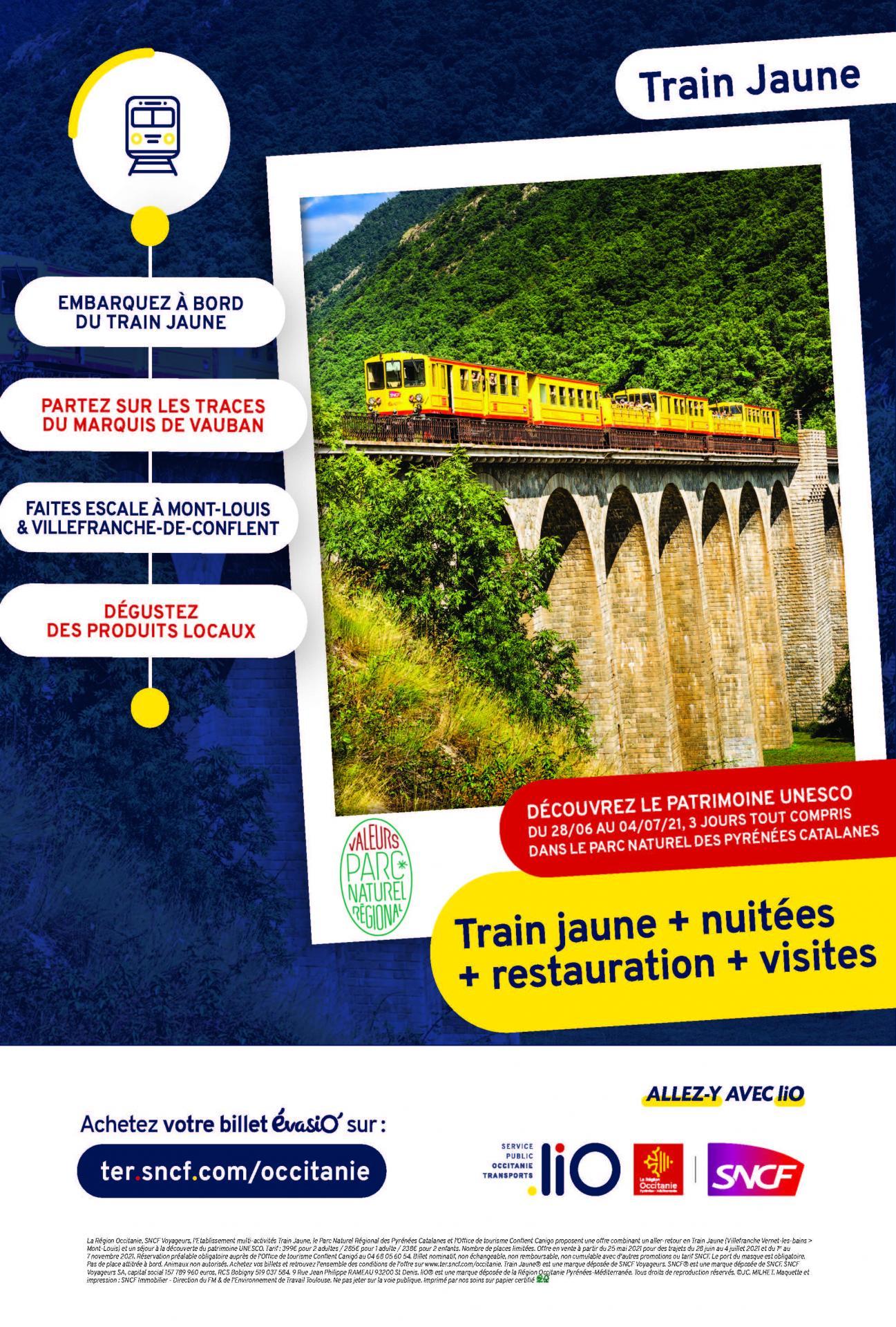Affiche reductions train jaune ot conflent canigo juin 2021