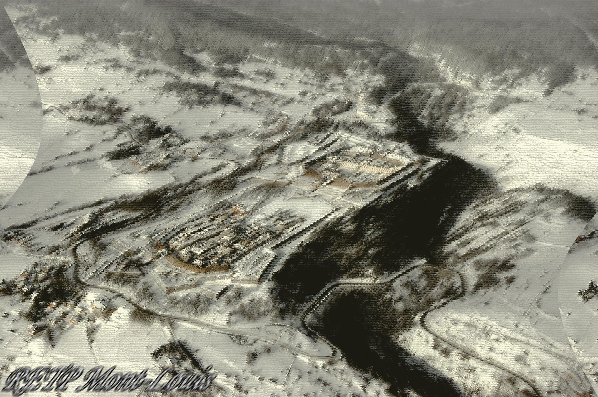 Deformation citadelle de mont louis vue du ciel l hiver