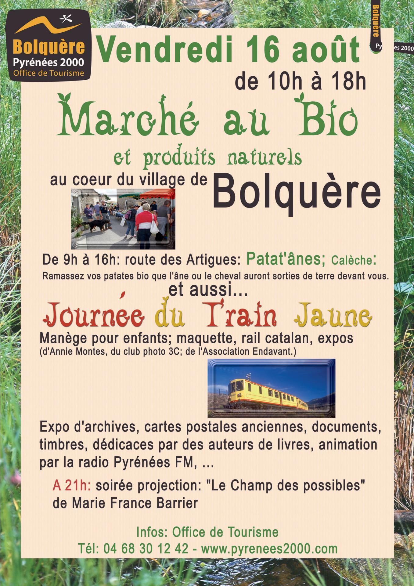 Foire bio et animations train jaune bolquere 16 08 2019