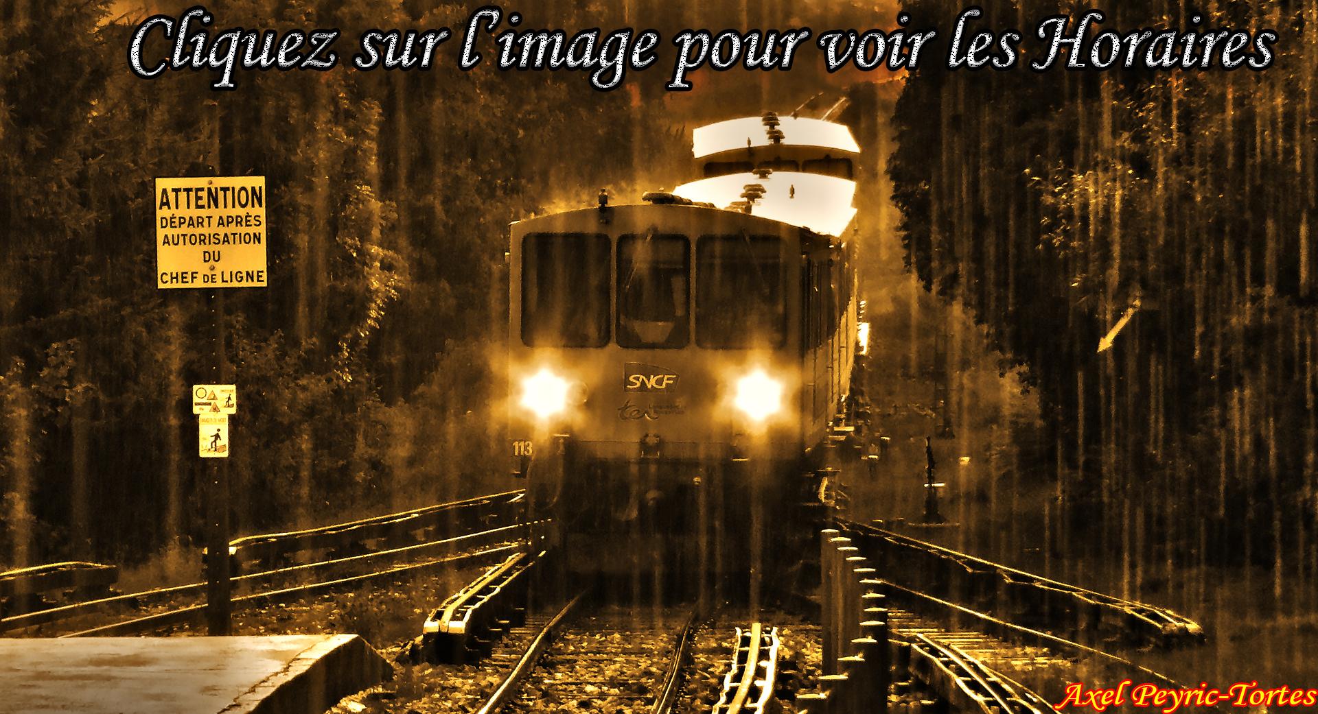 Image noir et blanc horaires train jaune